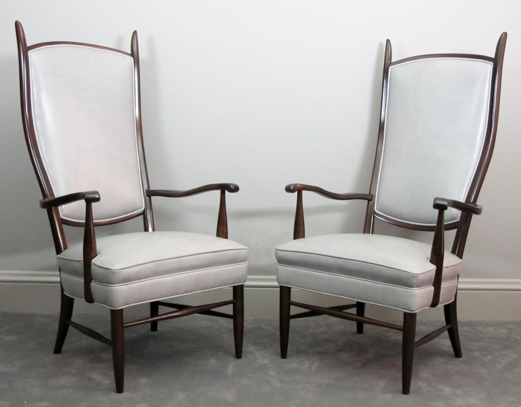 Pair of Dramatic High Back Chairs in Grey Leather 9