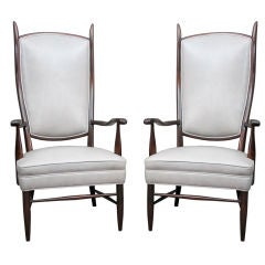 Pair of Dramatic High Back Chairs in Grey Leather