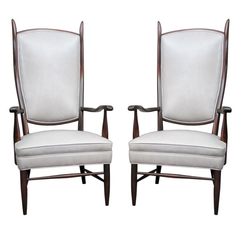 Pair of Dramatic High Back Chairs in Grey Leather 1