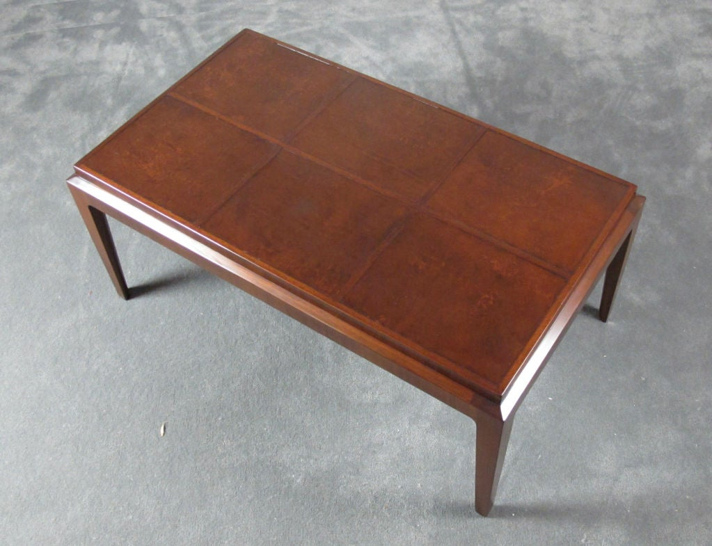 Elegant Leather Topped Cocktail Table For Sale At 1stdibs