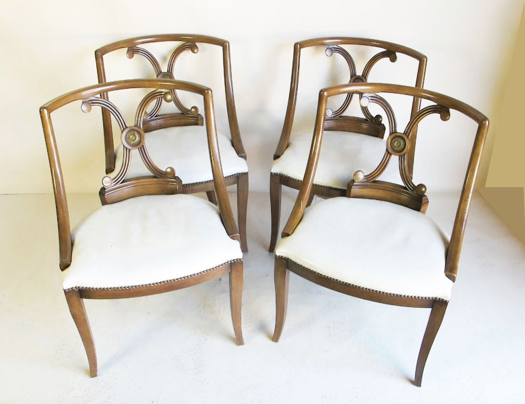 Set Of Four Hollywood Regency Style Leather Chairs For Sale At 1stdibs