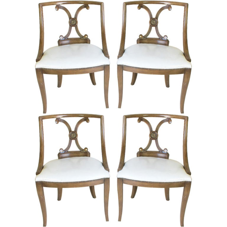 Set of Four Hollywood Regency Style Leather Chairs