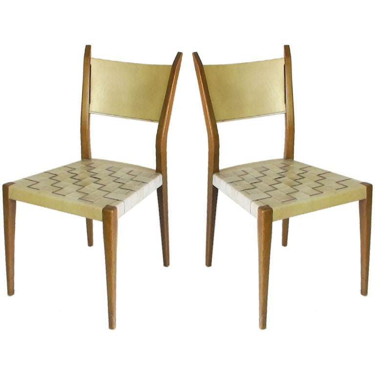 Pair of Woven Leather Chairs Designed by Paul McCobb for