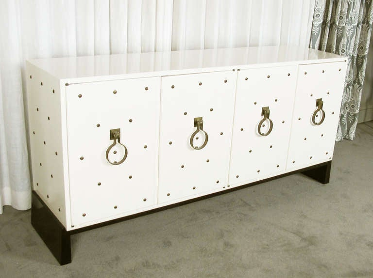 Wood Studded Sideboard by Tommi Parzinger For Sale