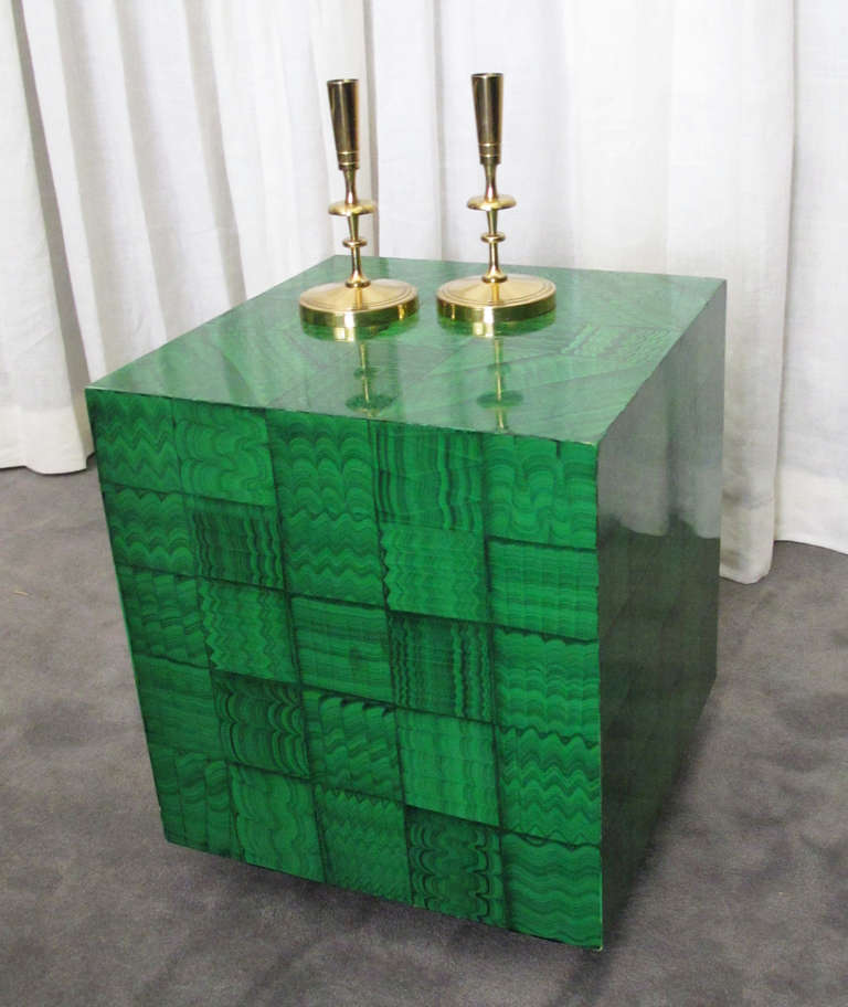 Mid-Century Modern Fornasetti Style Faux Malachite Table For Sale