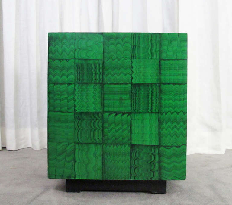 Fornasetti Style Faux Malachite Table In Good Condition For Sale In San Francisco, CA