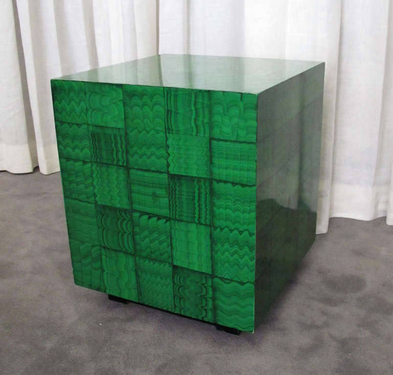 American Fornasetti Style Faux Malachite Table For Sale