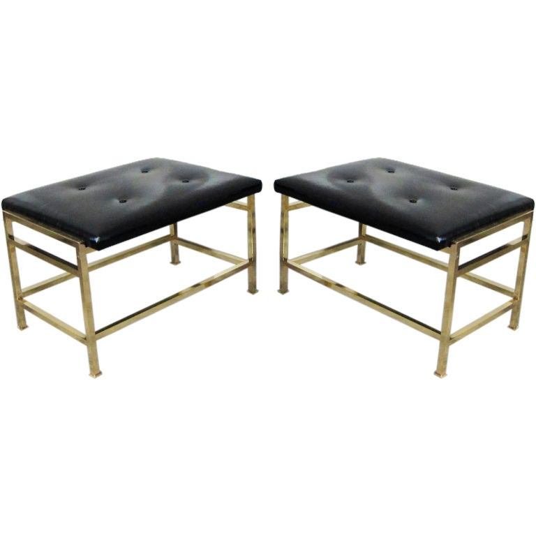 A Pair of Brass Dunbar Benches Designed by Edward Wormley