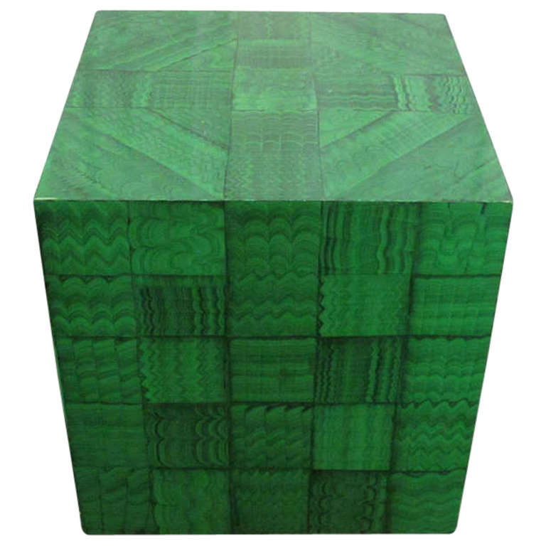 Fornasetti Style Faux Malachite Table For Sale