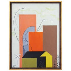 A 1939 Modernist Oil on Board by Richard Ayer