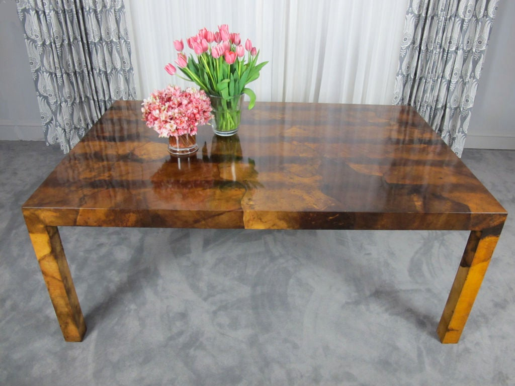 Italian Parchment Parsons Style Dining Table For Sale