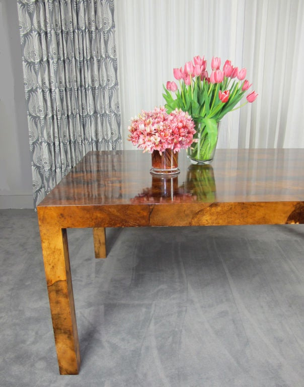 Parchment Parsons Style Dining Table In Excellent Condition For Sale In San Francisco, CA