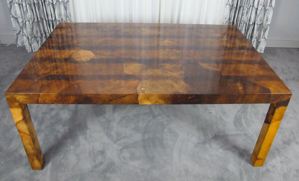 20th Century Parchment Parsons Style Dining Table For Sale