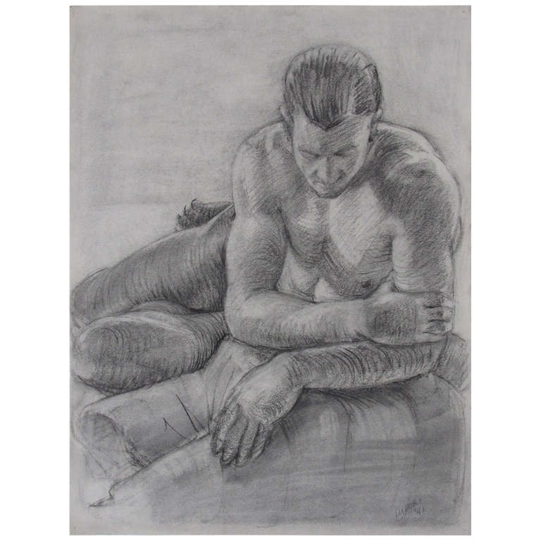 Male Nude Portrait Drawing by Peter Lupori, 1941 For Sale