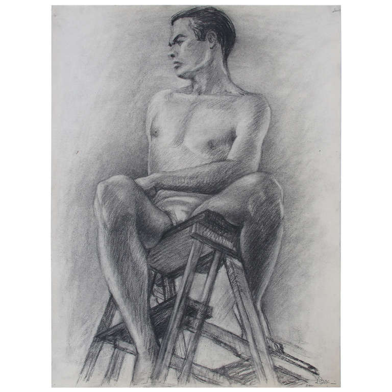 Male Nude Portrait Drawing by Peter Lupori, circa 1940 For Sale