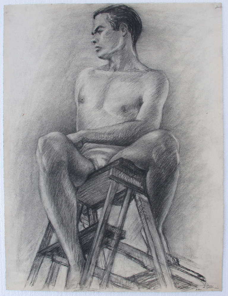 This is a very nicely done charcoal drawing on paper by artist Peter Lupori c. 1940.  Measuring 19 x 29 inches, this was executed while he was studying at Carnegie Institute.  