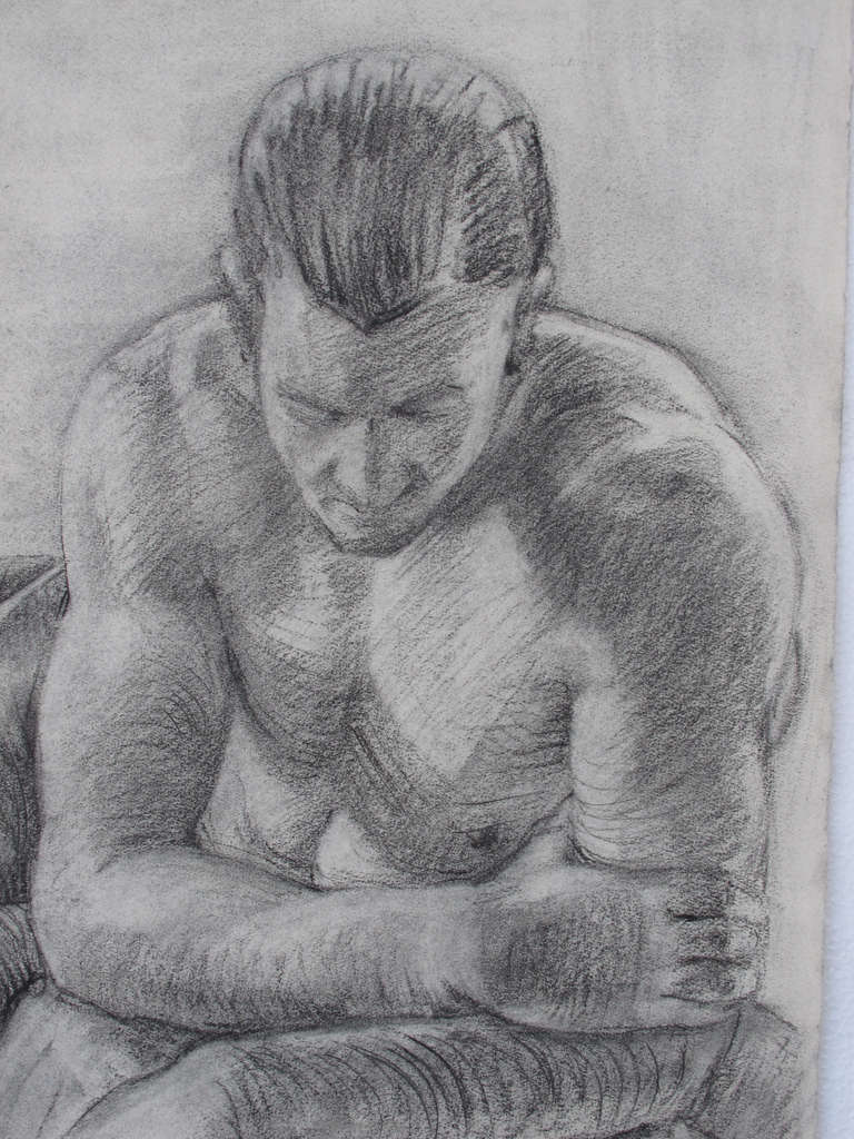 American Male Nude Portrait Drawing by Peter Lupori, 1941 For Sale