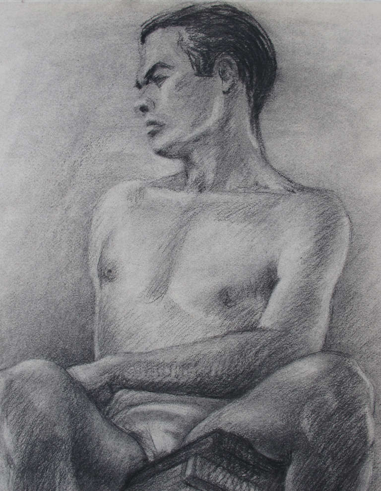 American Male Nude Portrait Drawing by Peter Lupori, circa 1940 For Sale