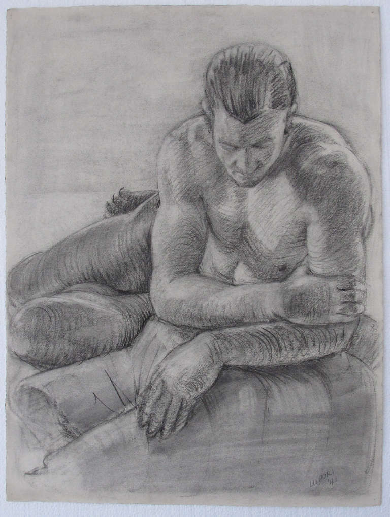 Male Nude Portrait Drawing by Peter Lupori, 1941 2