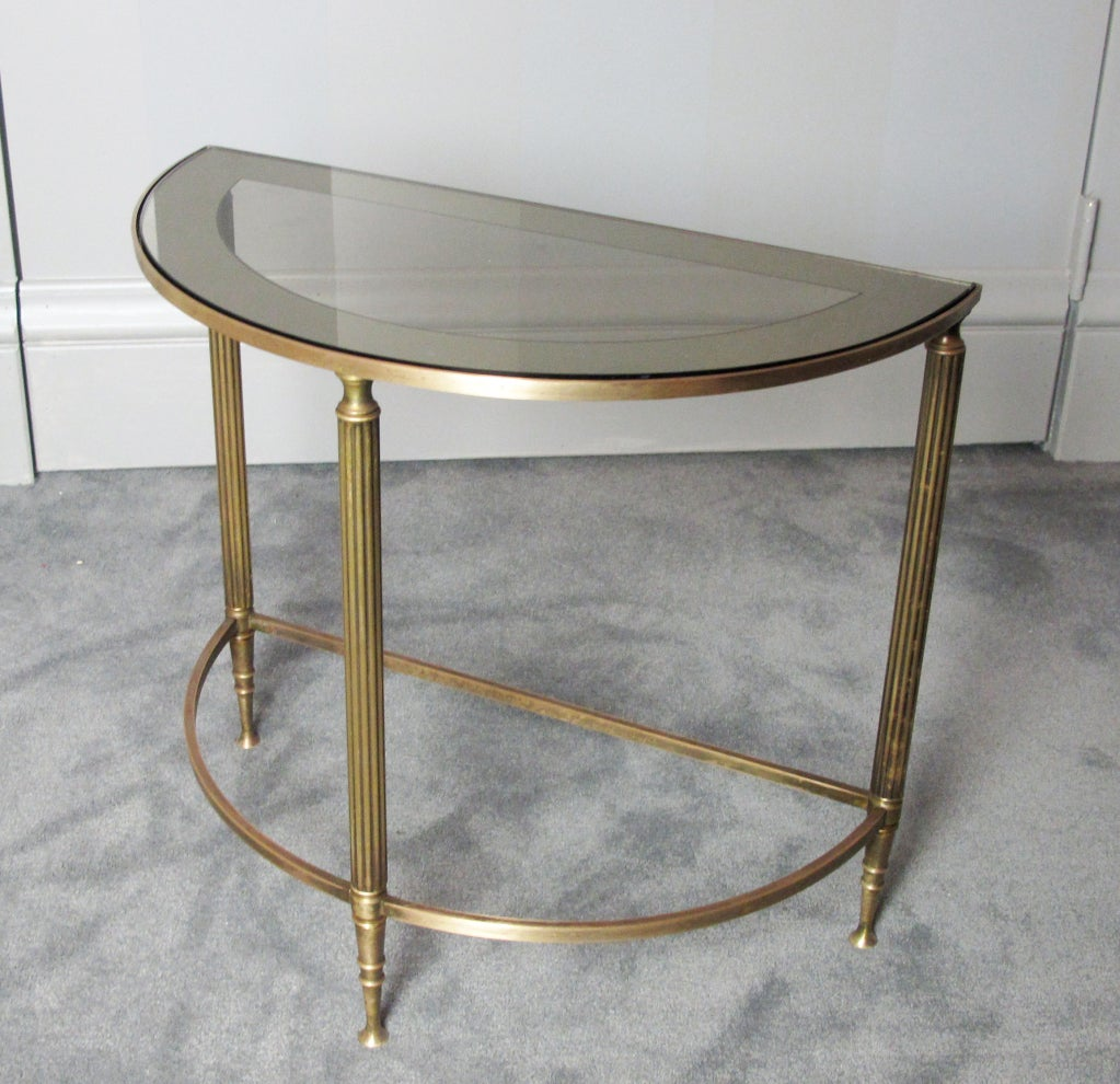 a pair of brass demi lune tables for sale at 1stdibs. Black Bedroom Furniture Sets. Home Design Ideas