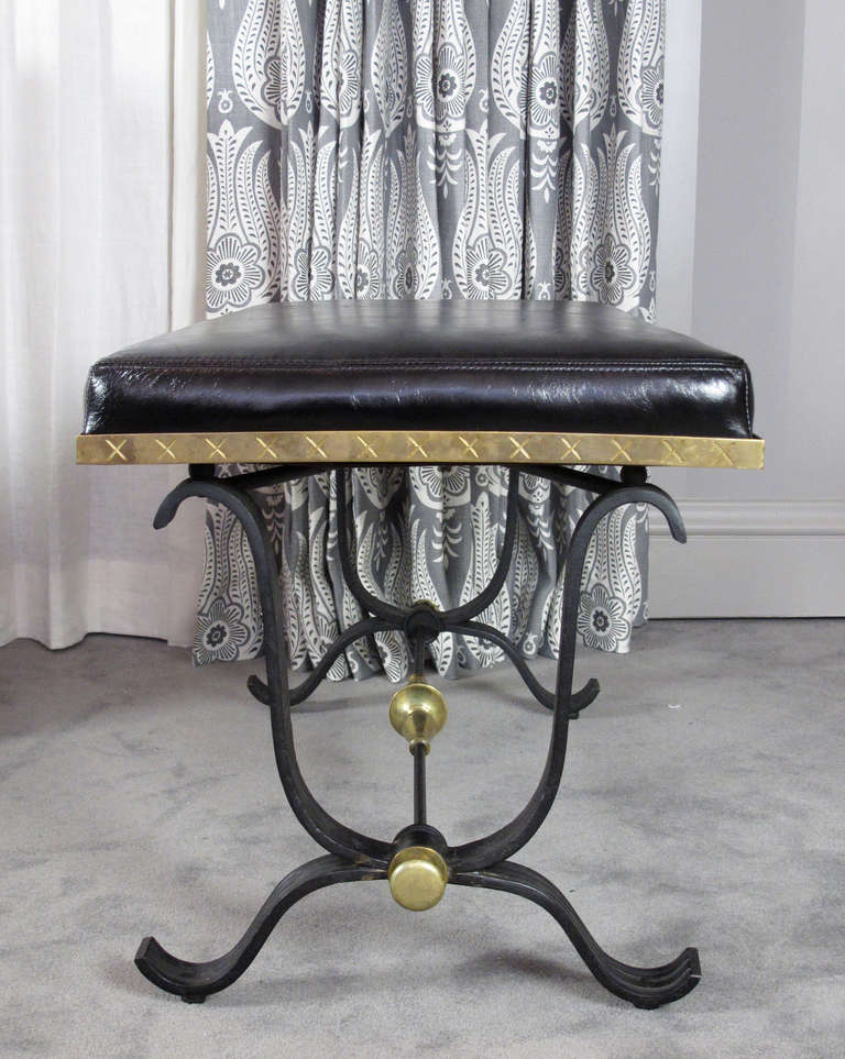Pair of Iron and Brass Benches 4