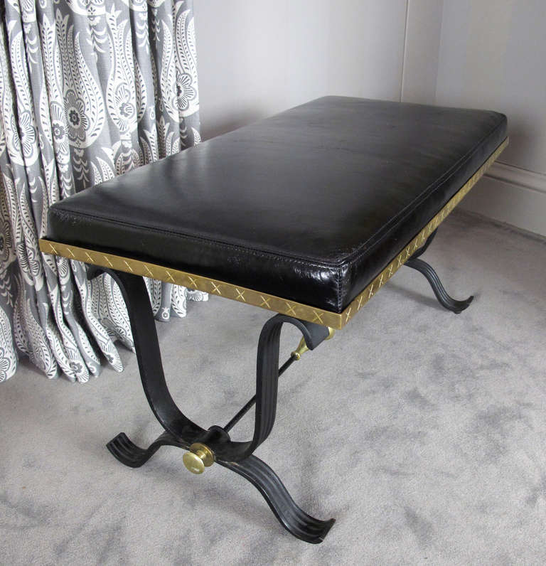 Pair of Iron and Brass Benches For Sale 2