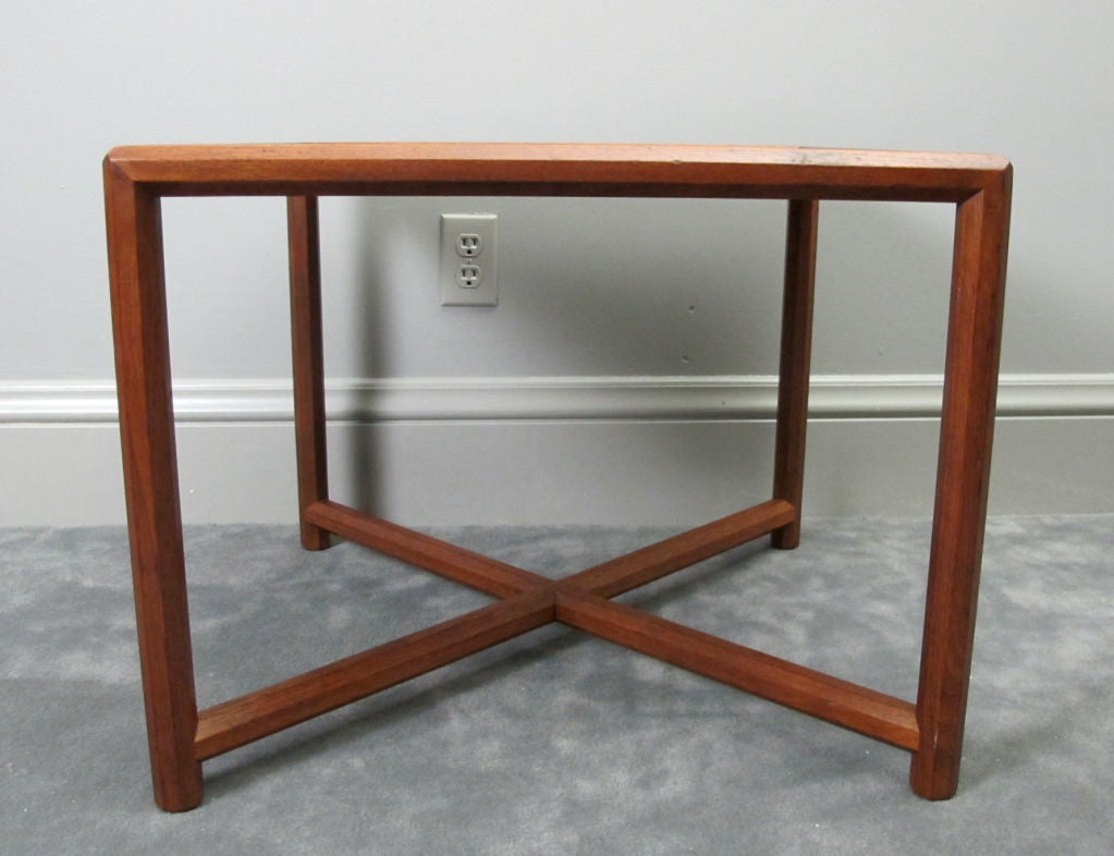 A nice form from Dunbar's esteemed Janus collection.  This model has a laminate top, which closely matches the walnut wood finish.  In nice vintage condition.