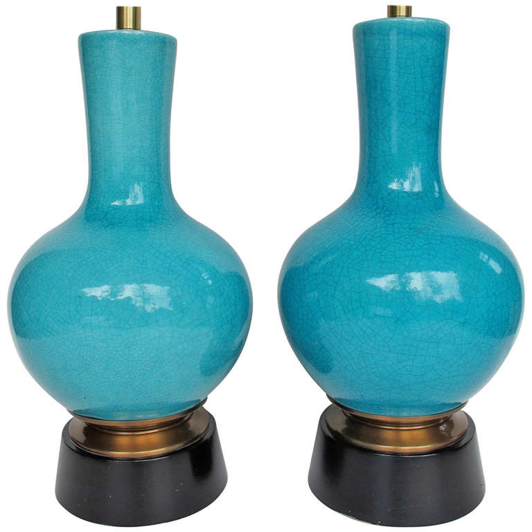 Pair of Pottery Lamps by Paul Laszlo for Wilshire House For Sale