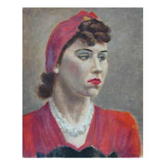 Portrait of a Lady in a Red Dress by Peter Lupori, circa 1940