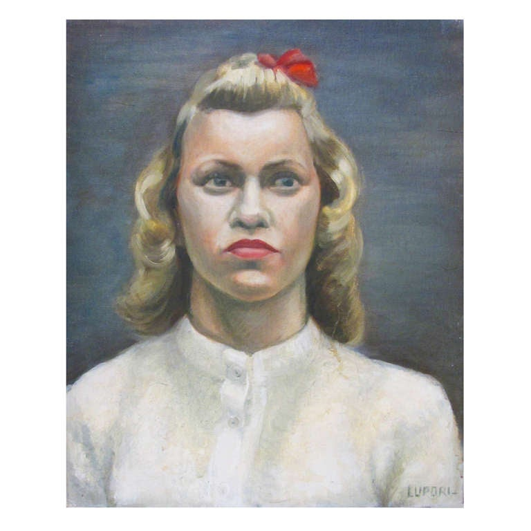 Portrait of a Lady with Red Bow by Peter Lupori, circa 1940 1
