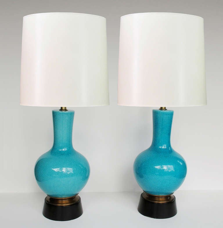 Mid-Century Modern Pair of Pottery Lamps by Paul Laszlo for Wilshire House For Sale
