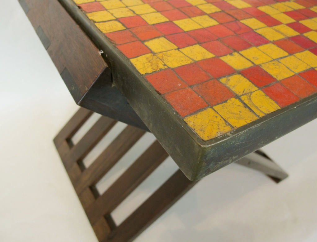 Mid-Century Modern Rare Edward Wormley for Dunbar Table with Murano Tiles For Sale