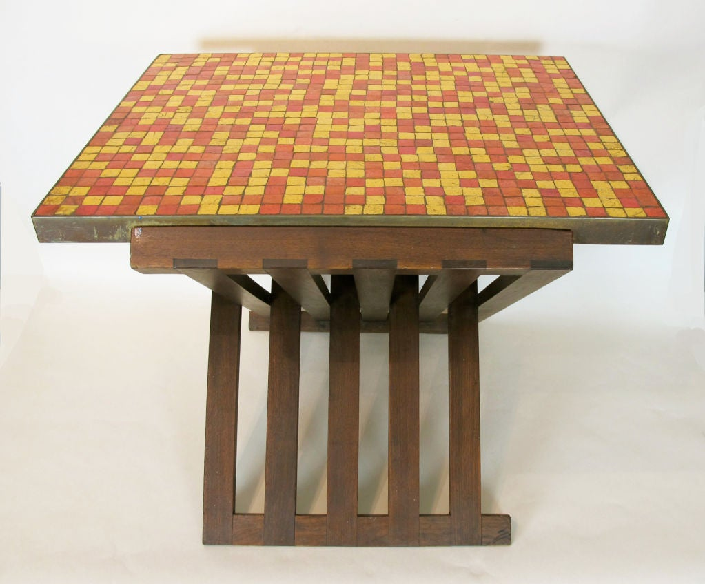 American Rare Edward Wormley for Dunbar Table with Murano Tiles For Sale