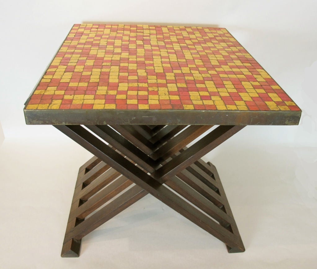 Rare Edward Wormley for Dunbar Table with Murano Tiles In Excellent Condition For Sale In San Francisco, CA