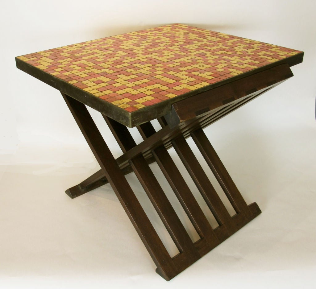 Mahogany Rare Edward Wormley for Dunbar Table with Murano Tiles For Sale