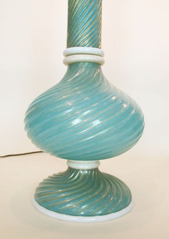 20th Century Pair of Murano Glass Lamps by Barovier Et Toso For Sale