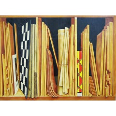 Woodwork Shelf - Trompe l'oeil Painting by Kennard M. Harris