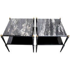 A Handsome Pair of Iron and Marble Tables