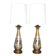 Pair of Monumental Asian Motif Eglomise Lamps