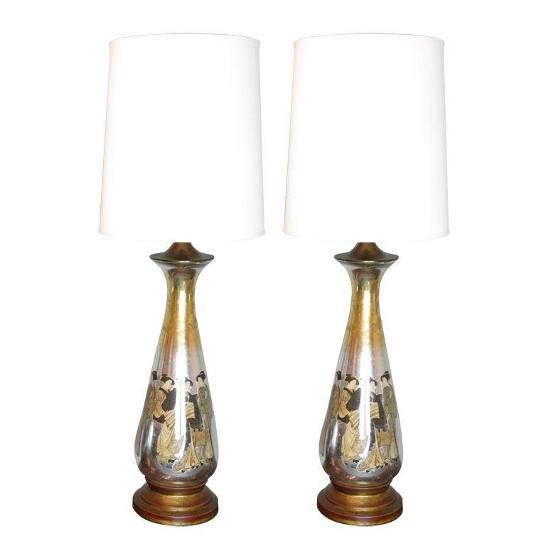 Pair of Monumental Asian Motif Eglomise Lamps