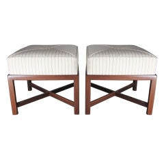 Pair of Mid Century X-Base Stools or Ottomans