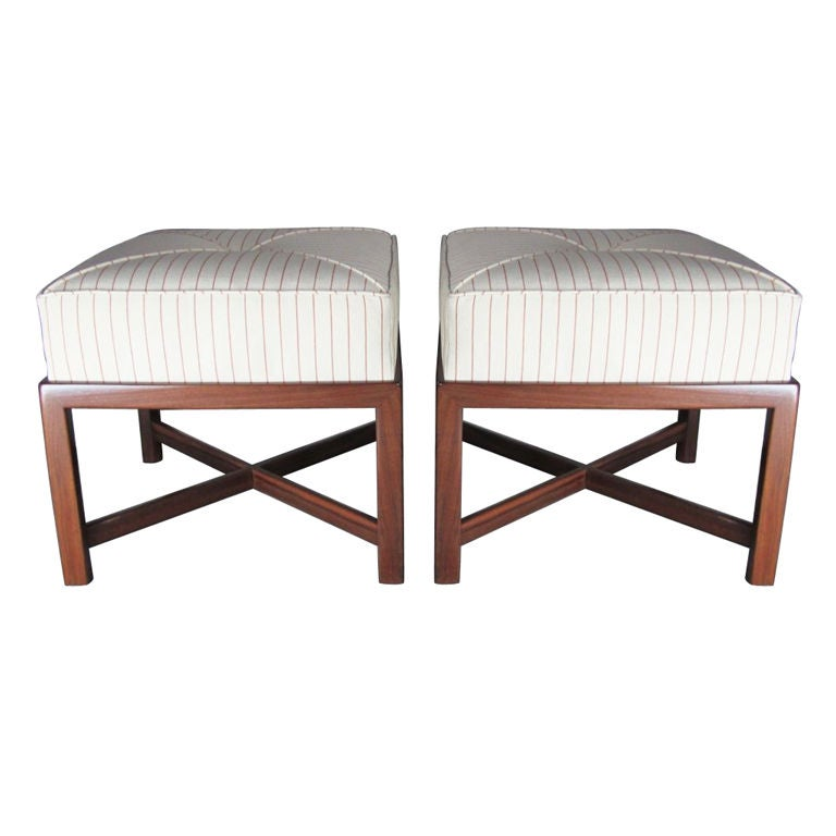 pair of mid century x base stools or ottomans for sale at 1stdibs. Black Bedroom Furniture Sets. Home Design Ideas