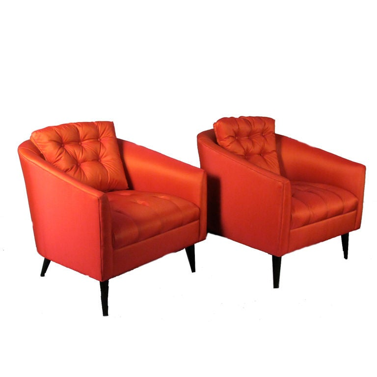 Pair of Elegant Mid Century Tufted Lounge Chairs at 1stdibs
