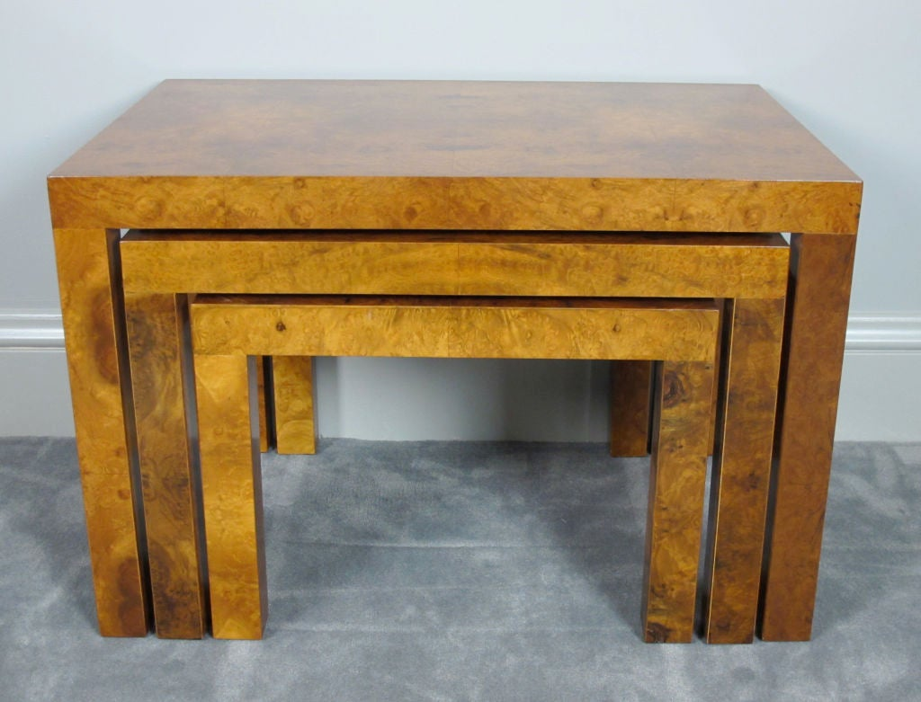 Mid-Century Modern Burl Nesting Tables Designed by Milo Baughman for Directional For Sale