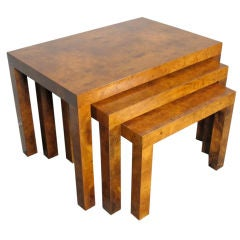 Burl Nesting Tables Designed by Milo Baughman for Directional