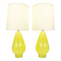 Pair of Citrine Murano Lamps by Barovier
