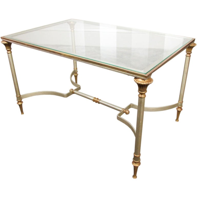 Maison Jansen Style Brass and Steel Coffee Table For Sale