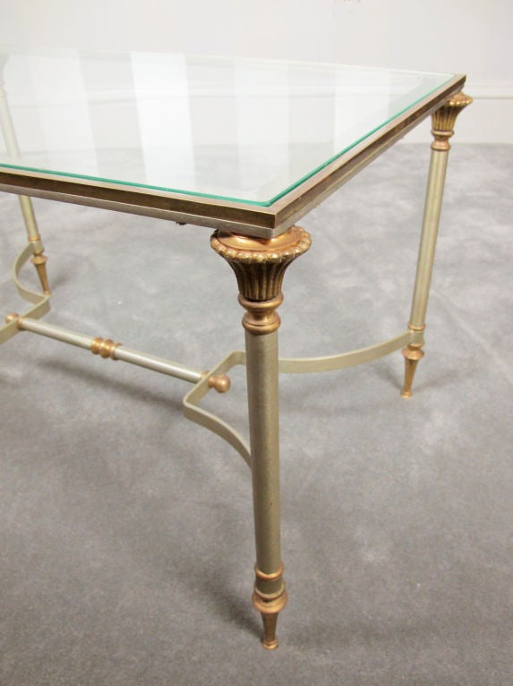 American Maison Jansen Style Brass and Steel Coffee Table For Sale