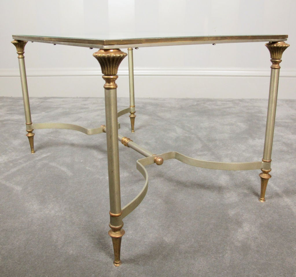 20th Century Maison Jansen Style Brass and Steel Coffee Table For Sale