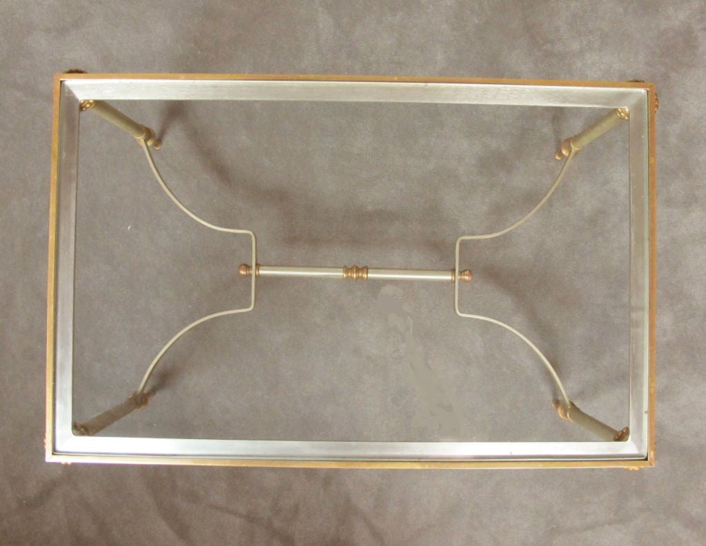 Maison Jansen Style Brass and Steel Coffee Table For Sale 1